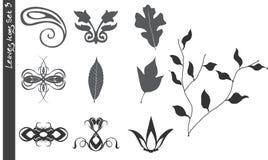 Os ícones das folhas ajustaram 3 ilustração stock