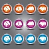 Os ícones das nuvens do vetor ajustaram-se com tema da transferência de arquivo pela rede e da transferência no botão de vidro pa Imagem de Stock Royalty Free