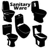 Os ícones das silhuetas do toalete do vetor ajustaram-se no fundo branco Fotos de Stock Royalty Free