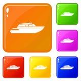 Os ícones de aplanamento do powerboat ajustaram a cor do vetor ilustração stock