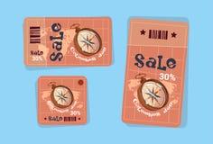 Os ícones de compra América do disconto das etiquetas de Columbus Day Seasonal Holiday Sale descobrem o cartão ilustração do vetor