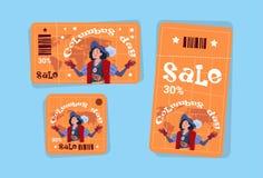 Os ícones de compra América do disconto das etiquetas de Columbus Day Seasonal Holiday Sale descobrem o cartão ilustração royalty free