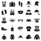 Os ícones de compra da roupa do inverno ajustaram-se, estilo simples ilustração do vetor