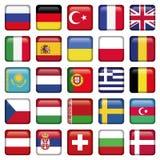 Os ícones de Europa esquadraram bandeiras Imagens de Stock Royalty Free