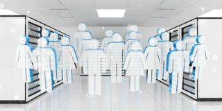 Os ícones de grupo de pessoas que voam sobre o centro de dados 3D da sala do servidor ren Fotografia de Stock