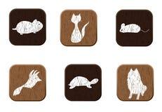 Os ícones de madeira da loja de animal de estimação ajustaram-se com silhuetas dos animais de estimação. Imagem de Stock Royalty Free