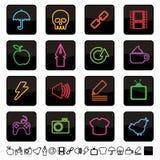 Os ícones de néon ajustaram 2 Fotografia de Stock Royalty Free