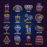 Os ícones de néon do sinal da loja do fast food ajustaram-se, estilo dos desenhos animados ilustração do vetor