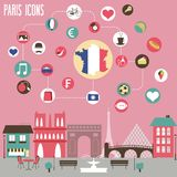 Os ícones de Paris ajustaram-se Imagem de Stock Royalty Free