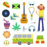 Os ícones de Rastafarian ajustaram-se na ilustração lisa do vetor do estilo ilustração royalty free