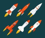 Os ícones de Rocket começam acima e lançam o símbolo para novo Imagem de Stock