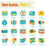Os ícones de SEO ajustaram a parte 1 Imagem de Stock