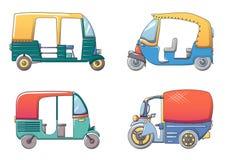 Os ícones de Tailândia do riquexó de Tuk ajustaram-se, estilo dos desenhos animados Foto de Stock