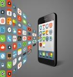 Os ícones diferentes da cor fluem ao smartphone moderno Fotografia de Stock