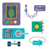 Os ícones diferentes da fechadura da porta da casa ajustados vector o elemento da privacidade da senha da segurança com chave e c Fotos de Stock Royalty Free