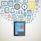 Os ícones diferentes fluem no dispositivo moderno Imagem de Stock Royalty Free