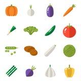 Os ícones do alimento ajustaram símbolos dos vegetais saudável e Healthsome na ilustração lisa do vetor do molde do projeto do fu ilustração royalty free