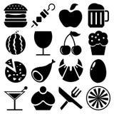 Os ícones do alimento e do fruto e da bebida ajustaram-se grande para todo o uso Vetor eps10 Imagens de Stock Royalty Free