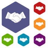 Os ícones do aperto de mão do negócio ajustaram o hexágono ilustração stock