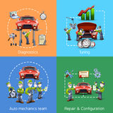 Os ícones do auto mecânico 4 esquadram a bandeira Imagens de Stock