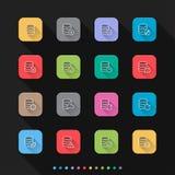 Os ícones do base de dados ajustam ícones lisos do estilo ajustados - Vector a ilustração para a Web & o móbil ilustração stock