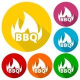 Os ícones do BBQ, da grade ou do assado ajustaram-se com sombra longa Fotografia de Stock Royalty Free