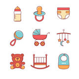 Os ícones do bebê diluem a linha grupo Fotos de Stock