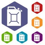 Os ícones do bidão do combustível ajustaram o hexágono ilustração stock