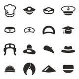 Os ícones do chapéu ajustaram 1 ilustração do vetor