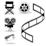 Os ícones do cinema Fotos de Stock Royalty Free