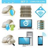 Os ícones do computador de vetor ajustaram 3 Fotografia de Stock