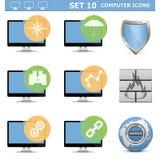 Os ícones do computador de vetor ajustaram 10 Foto de Stock