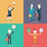 Os ícones do conceito do caráter do homem de negócios ajustaram a ilustração lisa na moda moderna do vetor Imagem de Stock Royalty Free