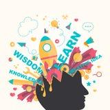 Os ícones do conhecimento e da faculdade criadora fluem de uma cabeça do homem no infograph Imagem de Stock Royalty Free