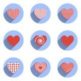 Os ícones do coração ajustaram-se, ideal para o dia de Valentim e Fotos de Stock Royalty Free