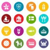 Os ícones do curso da Suécia ajustaram o vetor colorido dos círculos ilustração stock