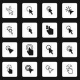 Os ícones do cursor do rato do pixel ajustaram-se, estilo simples ilustração stock