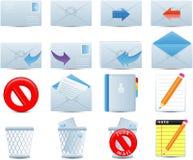 Os ícones do email ajustaram-se Imagens de Stock