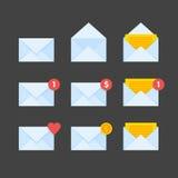 Os ícones do envelope do correio ajustaram a ilustração ilustração stock