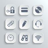 Os ícones do escritório ajustam-se - vector os botões brancos do app Imagem de Stock