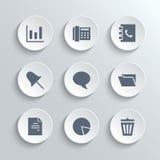 Os ícones do escritório ajustam-se - vector os botões redondos brancos ilustração stock