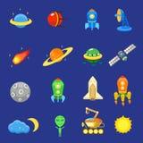 Os ícones do espaço ajustaram-se do sol do UFO do planeta da galáxia do foguete Fotografia de Stock