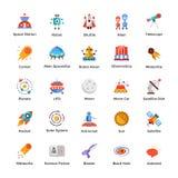 Os ícones do espaço e do universo embalam ilustração stock