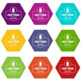 Os ícones do fast food ajustaram o vetor 9 ilustração royalty free