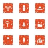 Os ícones do feriado da estação do inverno ajustaram-se, estilo do grunge Fotos de Stock
