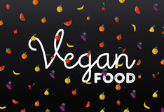 Os ícones do fruto com etiqueta do texto do alimento do vegetariano projetam Imagem de Stock