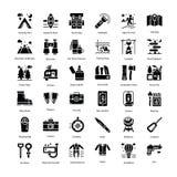 Os ícones do Glyph do turismo embalam imagem de stock