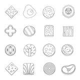 Os ícones do ingrediente de alimento da fatia ajustam, esboçam o estilo ilustração do vetor