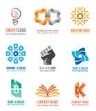 Os ícones do logotipo ajustaram-se para a identidade da empresa que marca como ideias espertas ilustração do vetor