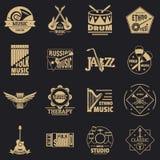 Os ícones do logotipo dos instrumentos musicais ajustaram-se, estilo simples ilustração do vetor